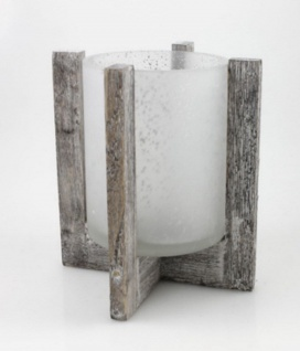 Windlicht im Holzsockel Glas Vase Kerzenhalter Deko Teelichthalter Leuchter - Vorschau