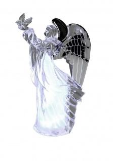Engel LED beleuchtet Deko Schutzengel mit Vogel Taube Skulptur Figur Elfe Fee