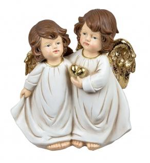 Deko Engel Paar Figur mit Herz Schutzengel Barock Putte Büste Skulptur Statue
