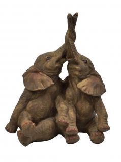 Elefant Tierfigur Skulptur Elefanten Paar Deko Tier Figur Afrika Statue abstrakt