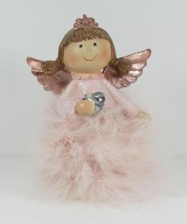 Engel Deko Schutzengel mit Federn Herz Weihnachtsengel Skulptur Figur Elfe Fee