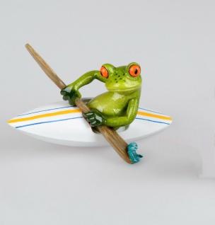 Frosch im Boot Kanu Kajak Kröte Gecko Lurch Deko Tier Figur Skulptur Froschkönig