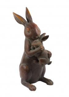 Deko Hase mit Kind Osterhase Hasen Paar Garten Figur Kaninchen Skulptur Dekohase
