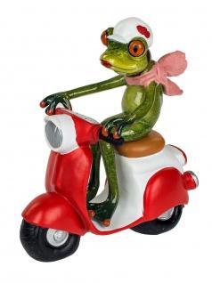 Frosch Dame Motorroller Kröte Gecko Lurch Deko Tier Figur Skulptur Froschkönig