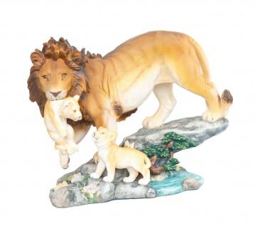 Deko Löwe mit Baby Kind Katze Leopard Skulptur Afrika Tier Figur Tiger Panther