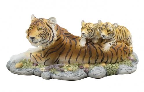 Tiger Katze Tigerfigur mit Baby Kind Skulptur Deko Afrika Tier Figur Statue Löwe