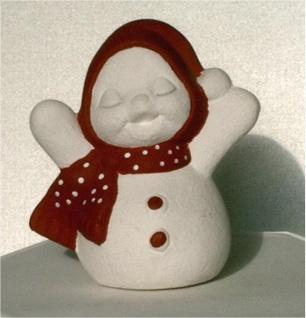 Schneemann aus Keramik Deko Figur Winterdeko Dekofigur
