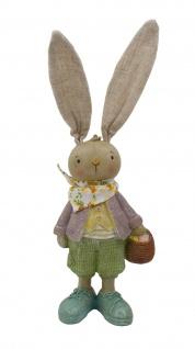 Deko Hase Hasen Mann mit Korb Osterhase Oster Figur Ei Kaninchen Skulptur Statue