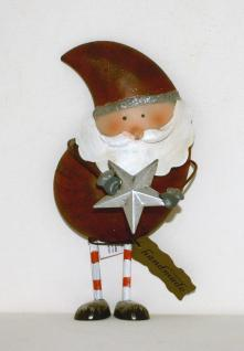 Weihnachtsmann mit Stern Nikolaus Metall Deko Figur Weihnachtsdeko Skulptur