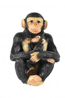 Schimpanse Affe mit Kind Baby Deko Garten Afrika Tier Figur Skulptur Statue