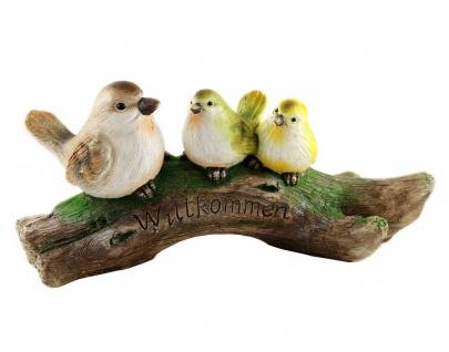 3 Vögel auf Ast Baum Skulptur Paar Garten Deko Spatz Vogel Gruppe Figur Statue