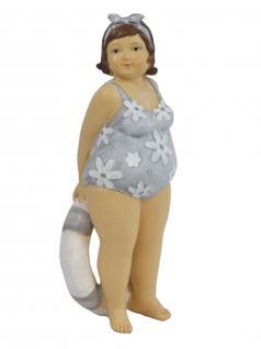 Frau im Badeanzug Mollige Dicke Dame Lady Rubens Deko Retro Figur Schwimmring - Vorschau 1
