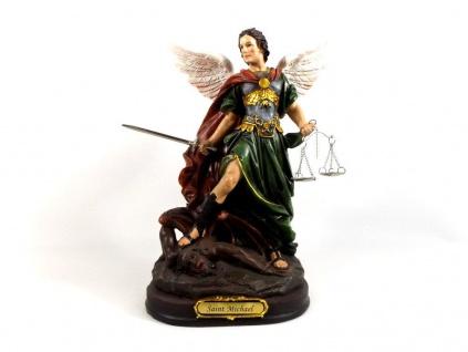 Heiliger Erzengel Michael Deko Figur Schwert Skulptur Statue Drachen Kruzifix