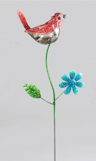 Gartenstecker Vogel Blume Metall Gartendeko Beetstecker Rosenkugel Deko Stab