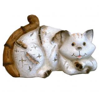 Katze Katzen Keramik Katzenfigur Deko Tier Figur Skulptur Statue abstrakt
