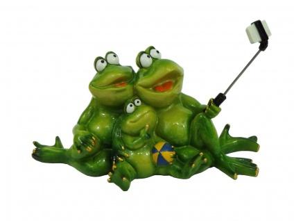 Frosch Familie Selfie Kröte Lurch Deko Tier Figur Skulptur Froschkönig Gecko