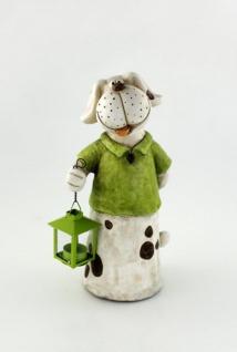 Hund Hundefigur mit Laterne Teelichthalter Deko Tier Figur Skulptur Gartenfigur