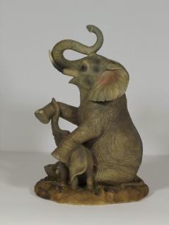 Elefant mit Baby Tierfigur Skulptur Deko Garten Tier Figur Afrika Statue - Vorschau 3