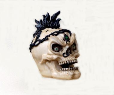 Gothic Deko Figur Sensemann Skelett Skull Reaper Schädel Totenkopf Irokese Punk