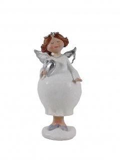 Engel Schutzengel Herz Feder Boa Mollige Deko Figur Skulptur Weihnachtsengel