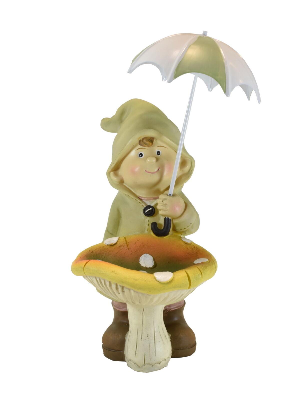 Wichtel Deko Figur Junge Mit Pilz Schirm Garten Kind Mädchen