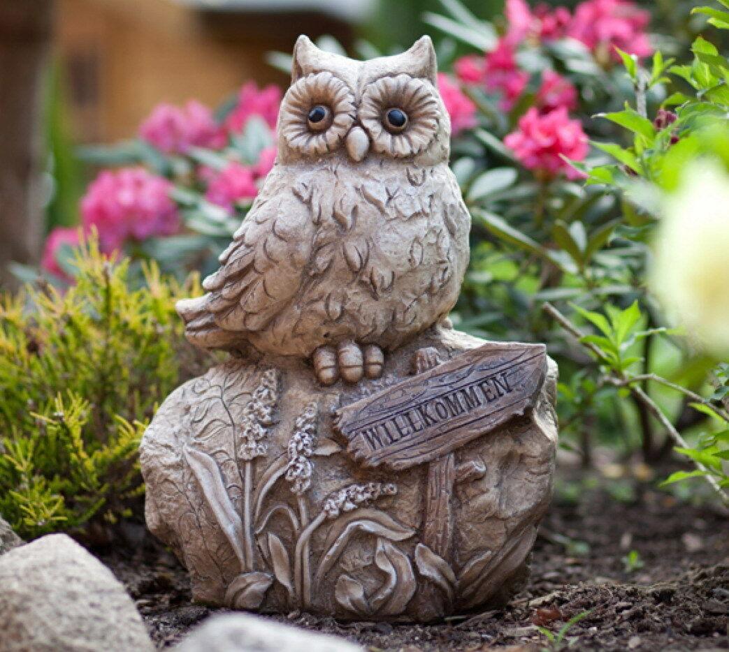 Gartendeko Figuren, eule auf stein gartendeko deko garten vogel tier figur artikel, Design ideen