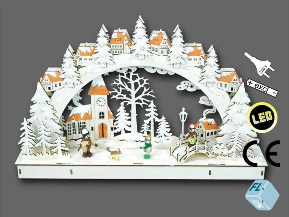 Weihnachtsdeko Schwibbogen.Schwibbogen Led Lichterbogen Stimmungsleuchter Fensterbild Holz Weihnachtsdeko