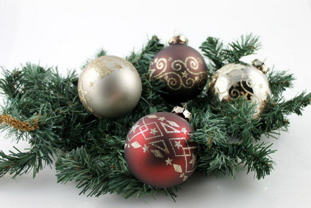 Christbaumkugeln 4 Tlg Weihnachtskugeln Glas Baumschmuck Kugeln
