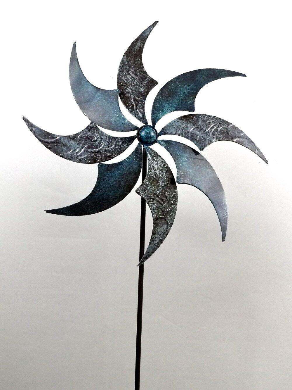 Gartenstecker Windmühle Windrad Metall Blaume Stecker Garten Deko Figur Windspiel