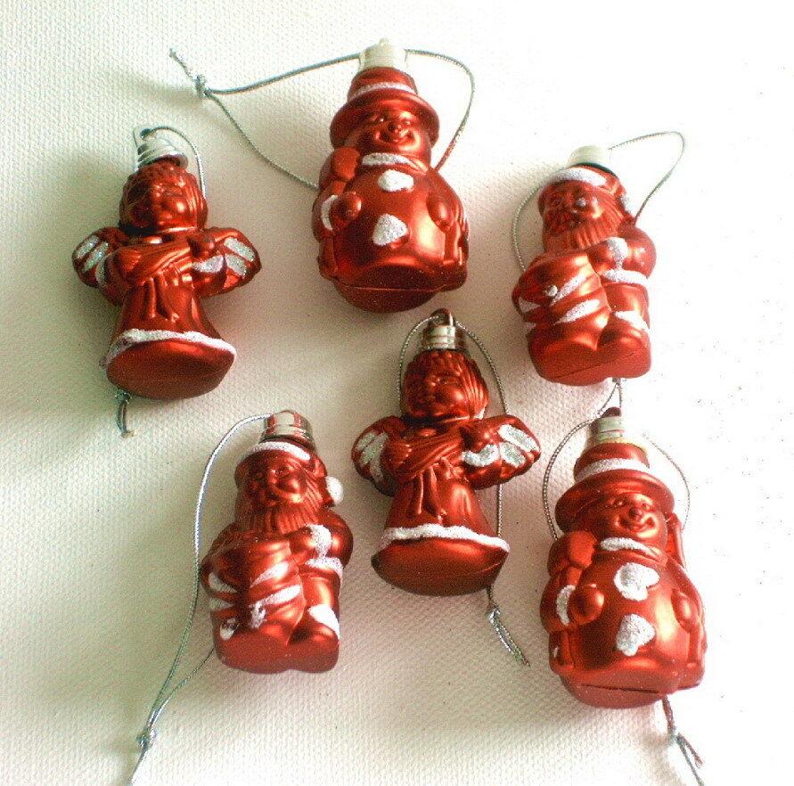 6 Christbaumschmuck Figuren Weihnachtsdeko Kugeln Rot