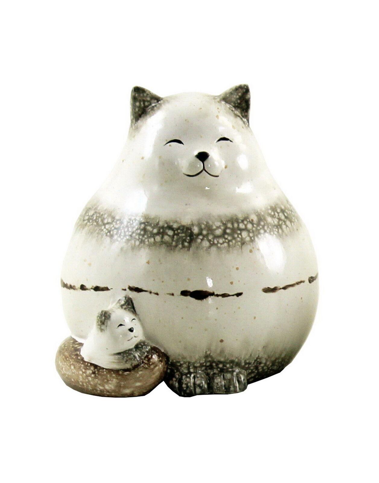 Deko Katze Mit Kind Baby Katzen Tier Garten Figur Skulptur Keramik Kater Statue