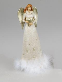 Engel Deko Schutzengel mit Federn Herz Skulptur Figur Elfe Fee Weihnachtsengel