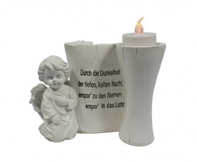 Grabschmuck Engel Teelichthalter Gedenkstein Deko Figur Skulptur Herz Grab Stein