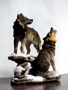 2 Wölfe Wolf auf Felsen Tierfigur Hund Skulptur Deko Tier Figur Statue Wildhund