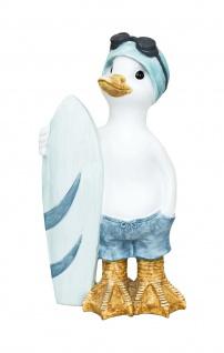 Deko Ente Gans Badeente Vogel Garten Tier Figur Skulptur Teichfigur Surfbrett