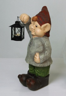 Gartenzwerg Wichtel Zwerg m.Laterne Gartenfigur Deko Skulptur Dekofigur Keramik