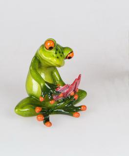 Frosch beim Karten Skat Spiel Kröte Unke Lurch Gecko Deko Tier Figur Skulptur