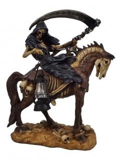 Gothic Deko Figur Sensemann auf Pferd Skelett Skull Reaper Horror Totenkopf