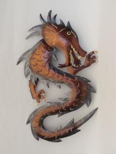 Drachen Wanddeko Metall Wandbild Drache Gecko Lurch Echse Deko Figur Skulptur