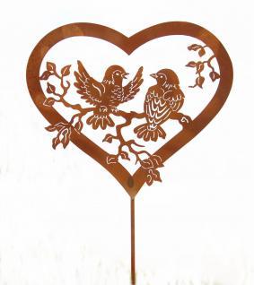 Gartenstecker Herz Vogel Paar Metall Edelrost Garten Stab Deko Figur Rankhilfe