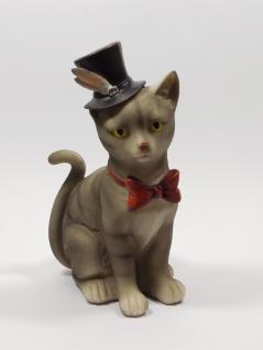 Spardose Spartopf Katze Hut mit Schloss Sparbüchse Sparschwein Deko Tier Figur