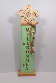 Deko Holz Säule LED beleuchtet Blume Schmetterling Figur Dekosäule Willkommen