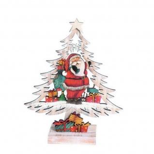 Deko Tannenbaum mit Weihnachtsmann Holz Fensterbild Dekobaum Schneemann Stern