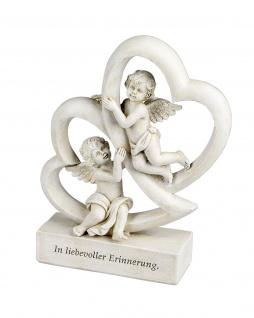2 Engel Herz Grabschmuck Grabstein Gedenkstein Grab Putte Deko Figur Skulptur