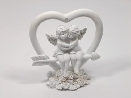 Engel Paar im Herz Schutzengel Engelfigur Deko Figur Pfeil Skulptur Grabschmuck