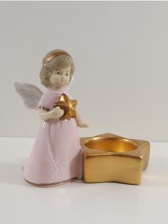 Engel Dekoengel Teelichthalter Stern Porzellan Schutzengel Deko Figur Skulptur