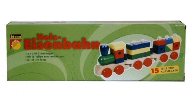 Holzeisenbahn Holzzug Lok 2 Anhänger u.15 Teile zum Aufstecken Holz Lokomotive - Vorschau