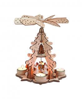 Pyramide Weihnachtspyramide Holz für 4 Teelichter Weihnachts Deko Engel Tanne