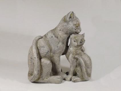 Katze mit Kind Deko Garten Katzen Paar Tier Figur Skulptur Kater Statue Tiger
