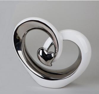 Deko Objekt Artikel abstrakte Skulptur Figur Dekofigur mit silber Herz Steingut